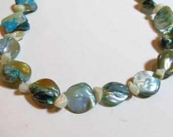 "FoBalone Nugs shell beaded Aqua necklace 16"""
