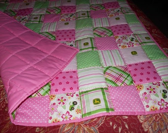 Handmade Baby Quilt- Pink NEW  Girl's  Baby Toddler Bed or  Crib  Quilt Comforter  36 x 56 Pink John Deere Fabric