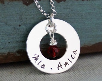 Circle of Love Necklace / Personalized Jewelry / Mommy Necklace / Hand Stamped Jewelry / Small Washer