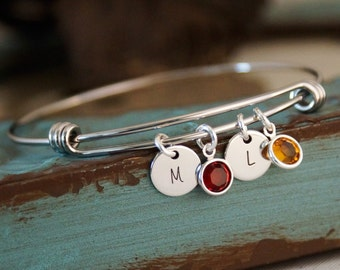 Mommy Bracelet / Adjustable Bangle / Charm bracelet with initials and birthstones / Hand stamped personalized bracelet with birthstones