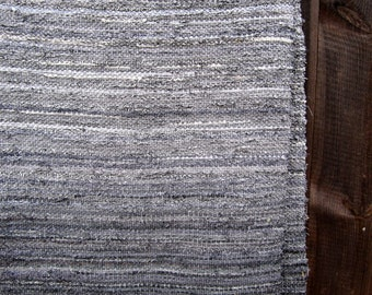 Large Handwoven rag rug - 8.85' x 5.03'- dark grey rock, salt & pepper, ready for sale
