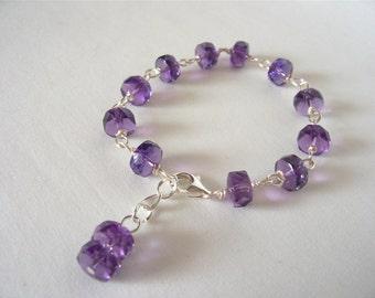 Sparkling purple amethyst bracelet, gemstone bracelet, statement bracelet, Boho, Winter-Spring  2017 fashion trends, Great gift idea