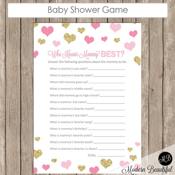 mommy best baby shower game pink and gold glitter hearts baby shower