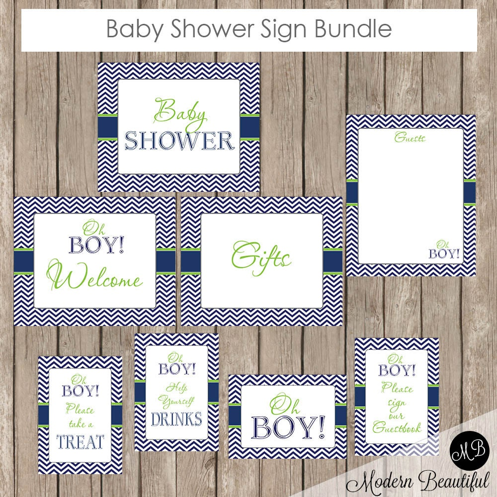 baby shower sign bundle oh boy lime and navy baby shower