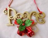 Christmas Door Hanger, Christmas Bells Peace Door Hanger, Peace, Bells, Holiday Wall Hanging, Red Bells