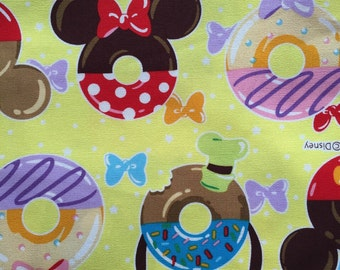Half yard Disney fabric Mickey mouse with sweets printed light yellow colour fabric