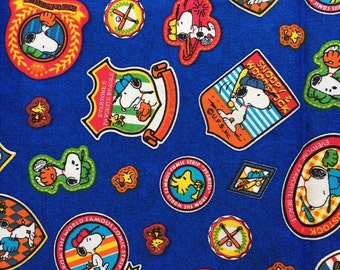 Baseball Snoopy fabric half yard blue colour