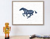 Go Horse Indianapolis Colts Print, Boys Sports Room Decor, NFL, Indiana, Horse Art, Horse Decor, Colts Decor, Football Print, Sports Nursery