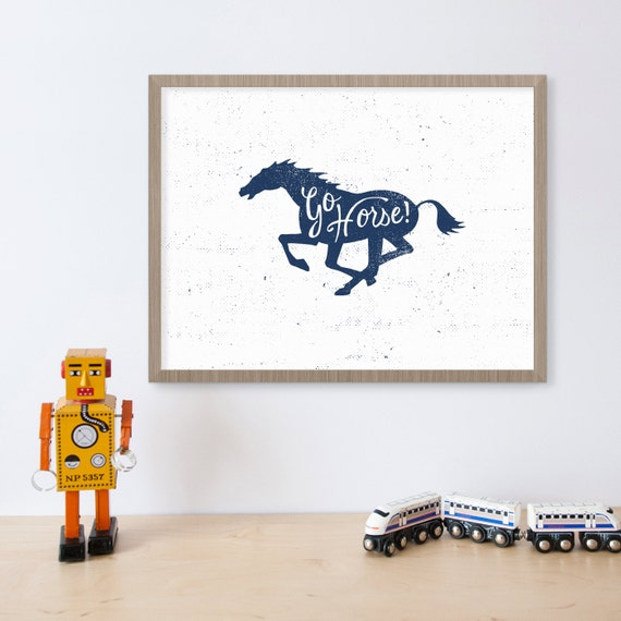 Go horse indianapolis colts print boys sports room decor for Colts bedroom ideas