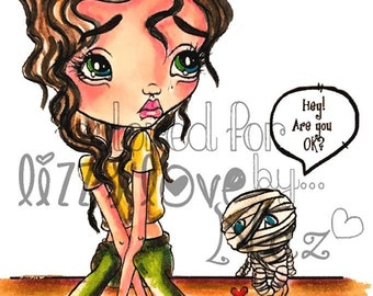 INSTANT DOWNLOAD Creepy Cute Big Eye Girl and Mummy Digital Stamps - Piper & Louie  Img No.348 by Lizzy Love