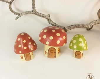 Set of Three Wee Mushrooms