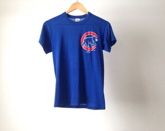 women's vintage 80s 1980s CHICAGO CUBS wrigley park throwback shirt soft thin shirt