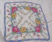 Beautiful White Blue Floral Cotton Hankie Handkerchief