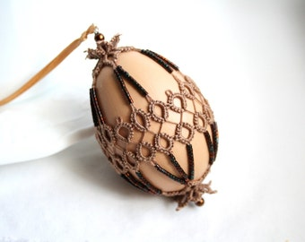 Easter Egg Decorative Tatting Lace Real Free Range Chicken Egg