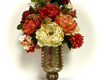 TALL Peony Tuscan Fall Floral Arrangement Everyday Floral Centerpiece in Gold Mercury Designer Glass Vase Orange Cream Rust