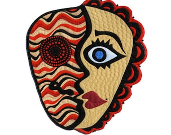 "Quilted Mask - Wall Hanging - IN YOUR FACE - 14""w x 16""h"