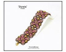 Bead pattern Persia bracelet with Kheops beads, Miniduo, Fire polished beads, seed beads, Toho treasures