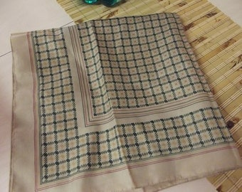 Italian vintage scarf - made in Italy - tan, red and green.
