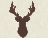 Buck deer head silhouette - machine embroidery applique and filled designs - INSTANT DOWNLOAD, for hoops 4x4 and 5x7