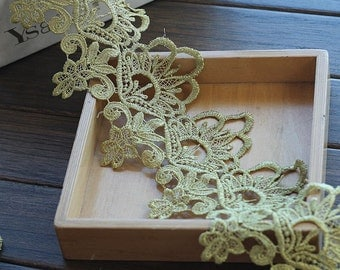 Gold Lace Trim Gorgeous Baroque Rose Crocheted Lace Trim Antique Lace 3.74 Inches Wide 2 Yards Wedding Dress Costumes Supplies