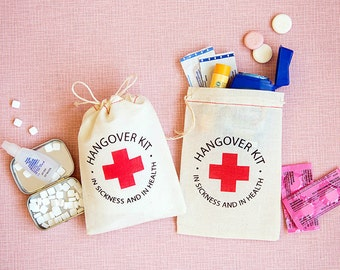 Bachelorette Party Favor - Hangover Kit Bags - Bachelorette Party Favors Bags - In Sickness and In Health Hangover Kits - Recovery Kit Bags