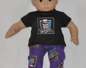 Purple Flannel Pajama's Fits American Girl Doll Bitty Baby and Twins