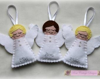 Personalised Felt Angel Handmade Ornament