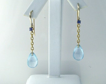 14K Yellow Gold Sapphire and BLUE Quartz DANGLE EARRINGS