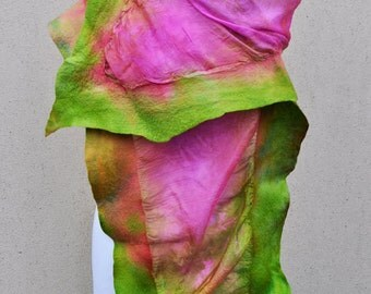 Felted scarf, silk, wool, nuno, felted, gift, fibre art, pink, green