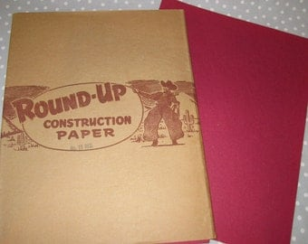 25 sheets Vintage Cowboy Western RED Construction Paper 9x12 color. Old Paper. Aged Paper. Diary Paper. Journal Paper. Cowboy Round Up