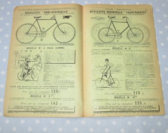 Antique French Catalog Pages Yellow Aged Paper Ephemera Bicycle Cyclists Bike Double Sided - Vintage (lot AA)