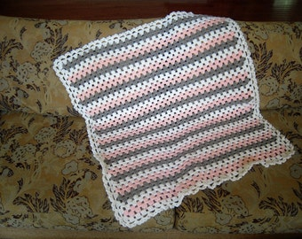 """Crocheted Baby Afghan/Blanket/Throw, 33""""W x 36""""L, White/Pink/Grey"""