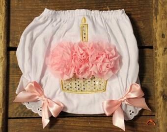 Cupcake Bloomers - Birthday Bloomers - 1st Birthday Pictures - Gold and Pink Birthday - Cupcake Bloomers