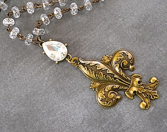 Clear Crystal Beaded Necklace / Brass Ornate Fleur De Lis Pendant / Boho Style Jewelry