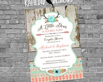 tribal baby shower invitation BOHO antlers arrows feathers wood gender neutral gender reveal bridal coed 1382 rustic shabby chic invitations