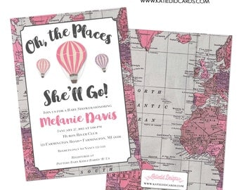 oh the places you will go invitation map baby shower hot air balloon birthday baptism graduation world travel (item 1309) places she will go