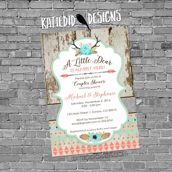 boho baby shower tribal invitation antler rustic chic baby shower invitation floral chic invite diaper and wipe brunch 1382 Katiedid Designs