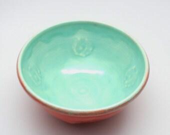 Handmade Bowl, Serving Bowl, Flower Pattern Bowl, Made in North Carolina