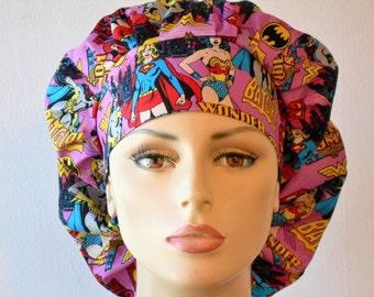 Scrub Hats DC Comics Super Girls Womens Bouffant Scrub Hat - Wonder Women Bat Women