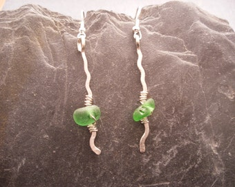 Scottish Sea Glass Drop Earrings in Green and Sterling Silver, Wavy Hammered Wire, Scottish Jewelry, Beach Glass