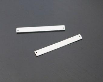 Matte Silver simple long Bar pendant, Horizontal bar connector, Smooth bar link charm, 1 pc, K516883
