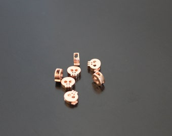 Matte Rose Gold Tarnish Resistant mini Skull bead disk Connectors, Earring Findings, pendants, 2 pc, L1316628