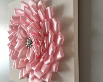 "Baby Pink  Kanzashi  flower Wall Art - 12""x12"" Canvas Wall Art - Nursery Wall Decor - Ribbon Flower Wall Art - 3D Wall Art"