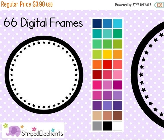 50% OFF SALE Star Circle Digital Frames 1 - Clip Art Frames - Instant Download - Commercial Use