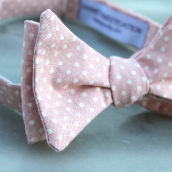 Pink Dusty Rose Dot Bow tie - clip on, pre-tied with strap or self tying - ring bearer outfit or groomsmen attire