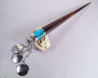 Wooden Hair Stick SHIPS IMMEDIATELY 7-inch Turquoise Blue Handmade Desert Ironwood Hair Stick