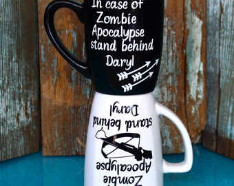 2 Zombie Apocalypse Mugs, The Walking Dead, Daryl Cup