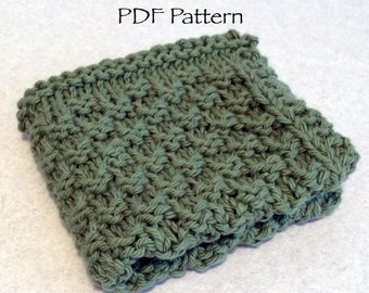 Double Seed Stitch Knitted Dishcloth Pattern in PDF format