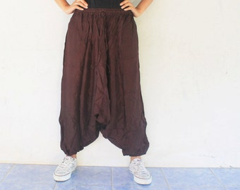 brown harem pant light wight cotton,yoga,spa,hippie, boho,bohemian, gypsy,aladddib,jumpsuit,genie ,baggy trousers,unisex pants.