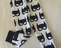 Black and White Baby Toddler Kids Girls or Boys unisex Batman leggings bat mask print stretch pants Size 0 3 6 9 12 18 24 months 2T 3T 4T 5T